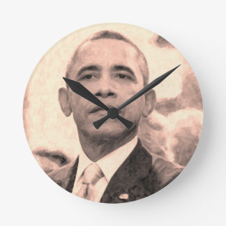 Abstract Portrait of President Barack Obama 30x30 Round Clock