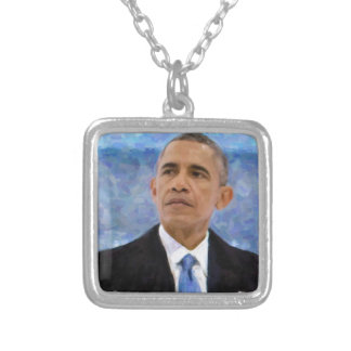 Abstract Portrait of President Barack Obama 30x30 Silver Plated Necklace