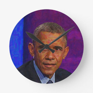 Abstract Portrait of President Barack Obama 7 Round Clock
