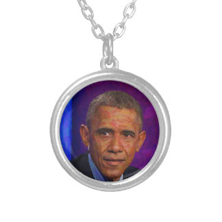 Abstract Portrait of President Barack Obama 7 Silver Plated Necklace
