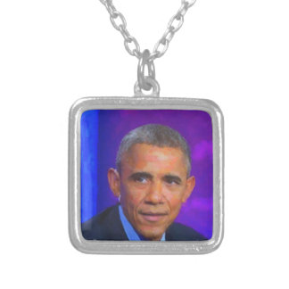 Abstract Portrait of President Barack Obama 8 a.jp Silver Plated Necklace