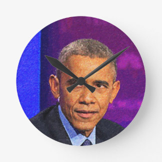 Abstract Portrait of President Barack Obama 8 Round Clock