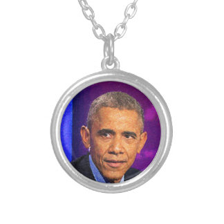 Abstract Portrait of President Barack Obama 8 Silver Plated Necklace