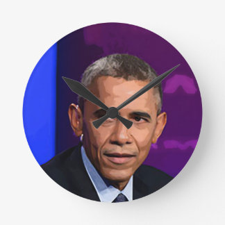 Abstract Portrait of President Barack Obama 9 Round Clock