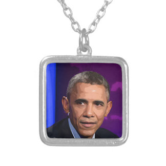 Abstract Portrait of President Barack Obama 9 Silver Plated Necklace