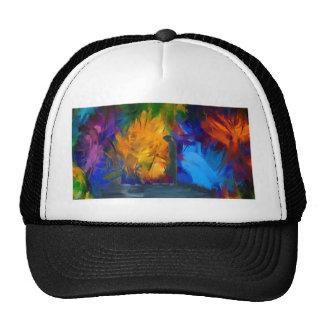abstract portrait surreal rainbow trucker hat