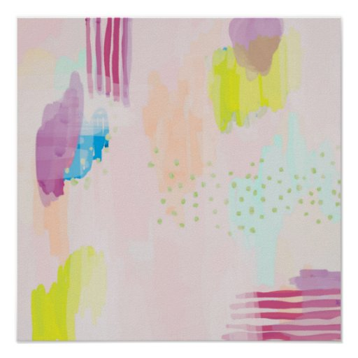 Abstract Poster Print Blush Multi