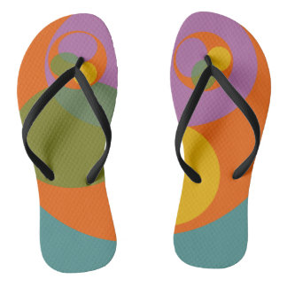 Abstract Print Colorful Bright Orange Blue Flip Flops