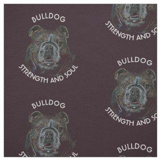 Abstract Psychedelic Dark Bulldog Drawing Fabric