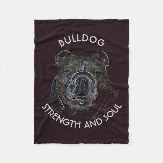 Abstract Psychedelic Dark Bulldog Drawing Fleece Blanket