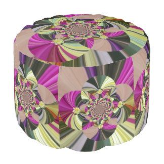 Abstract Psychedelic Floral Pattern Pouf