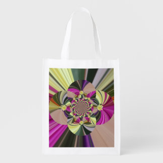 Abstract Psychedelic Floral Pattern Reusable Grocery Bag