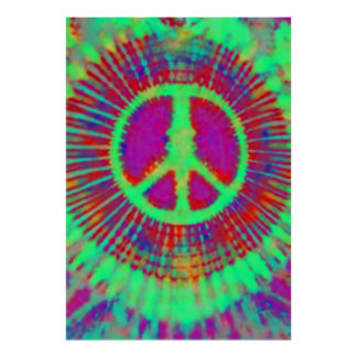 Abstract Psychedelic Tie-Dye Peace Sign Fine Art Poster