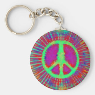 Abstract Psychedelic Tie-Dye Peace Sign Basic Round Button Keychain