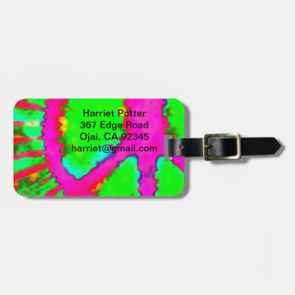Abstract Psychedelic Tie-Dye Peace Sign Luggage Tag