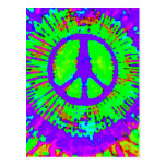 Abstract Psychedelic Tie-Dye Peace Sign Post Card