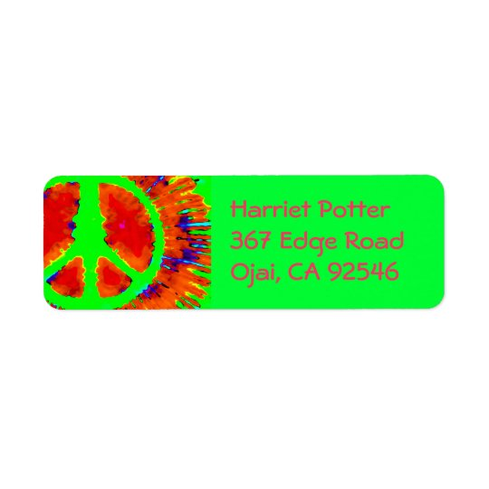Abstract Psychedelic Tie-Dye Peace Sign Return Address Label
