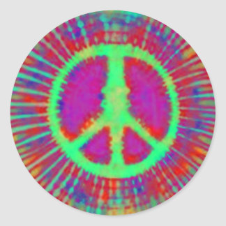 Abstract Psychedelic Tie-Dye Peace Sign Round Sticker