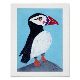 Abstract Puffin Folk Art  Poster