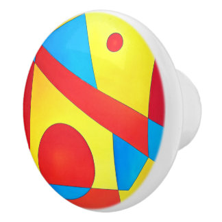 Abstract Pull In Primary Colors Ceramic Knob