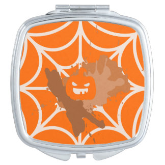 Abstract Pumpkin Square Compact Mirror