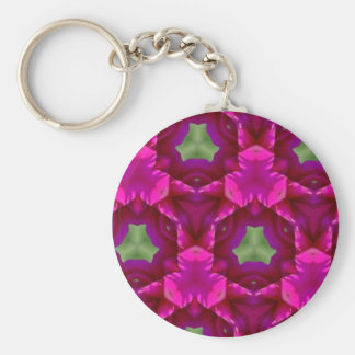Abstract Purple And Green Products Basic Round Button Keychain