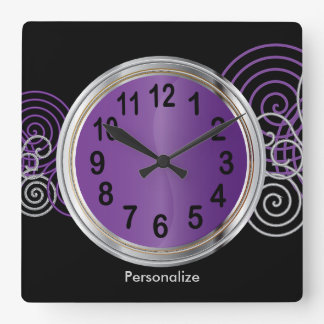 Abstract Purple and Silver Metallic Design Square Wall Clock