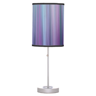 Abstract Purple and Teal Gradient Stripes Pattern Table Lamp