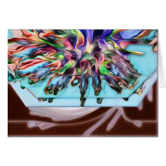 Abstract Purple/Aqua Blank Card w White Envelope