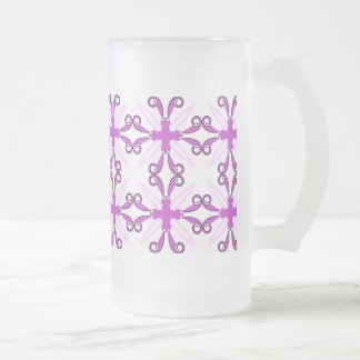 Abstract Purple Awareness Butterfly Frosted Glass Beer Mug