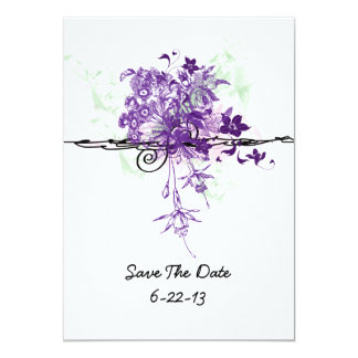 """Abstract Purple Floral Bouquet Wedding Save Date 5"""" X 7"""" Invitation Card"""