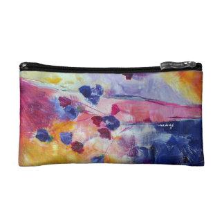 Abstract Purple Flowers Bagette Makeup Bag