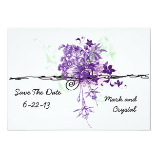 Abstract Purple Flowers Bouquet Save The Date Card