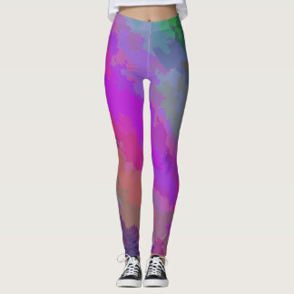 Abstract Purple, Fuschia and Green Fractal Plasma Leggings