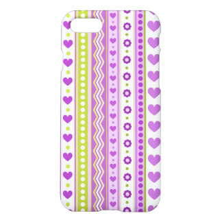 Abstract Purple green pattern + dots flowers heart iPhone 7 Case
