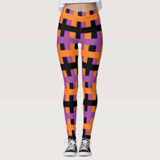 Abstract Purple, Orange and Black Leggings