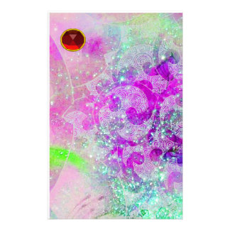 ABSTRACT PURPLE TEAL BLUE SWIRLS,WAVES,RED RUBY STATIONERY