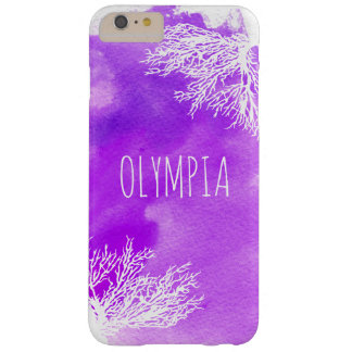 Abstract purple watercolor splash and white reef barely there iPhone 6 plus case