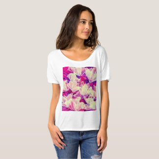 Abstract purple & white floral t-shirt