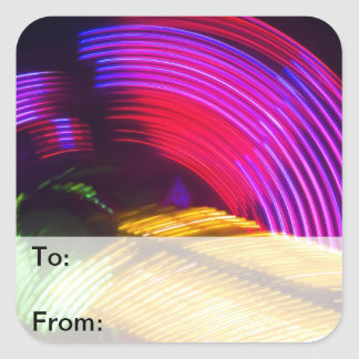 Abstract Purple Yellow Red Green Lights Gift Tags Square Sticker