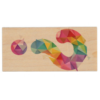 Abstract Question Mark Wood USB Flash Drive