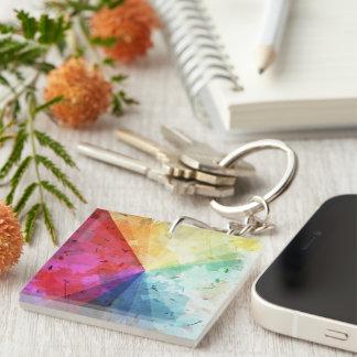 Abstract Rainbow Beams Single-Sided Square Acrylic Keychain