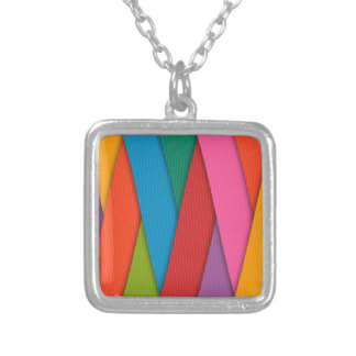 Abstract Rainbow Colors Background Silver Plated Necklace