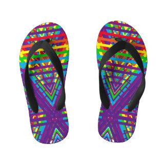 Abstract Rainbow Colors Design Kid's Flip Flops