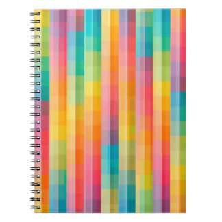 Abstract Rainbow Colors Grid Background Notebooks