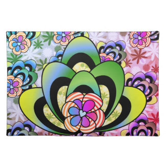 Abstract Rainbow Flower Place Mat
