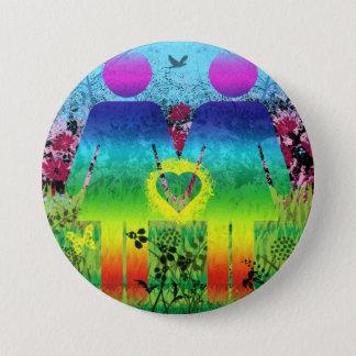 Abstract Rainbow Grunge Love Button