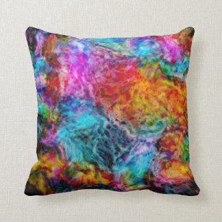 Abstract Rainbow Lava Nebula Throw Pillow