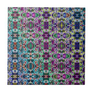 Abstract Rainbow Mandala Fractal Tile