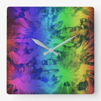 Abstract Rainbow Meadow Design Square Wall Clock